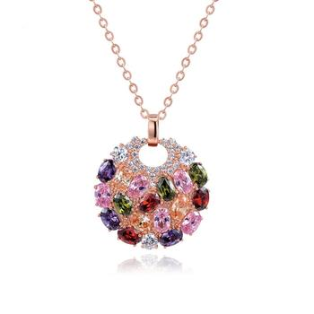 LUOTEEMI Hot Sale Rose Gold Plated Multicolor Top Cubic Zircon Paved Big Round Pendant Necklace