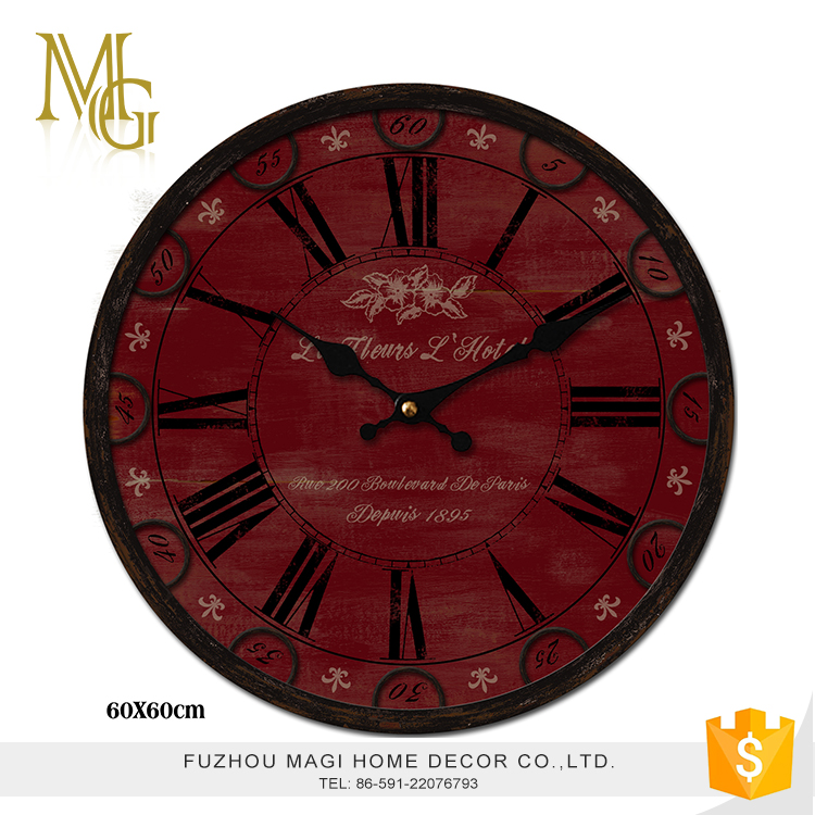 Special design aged antique shabby chic custom wall clock design