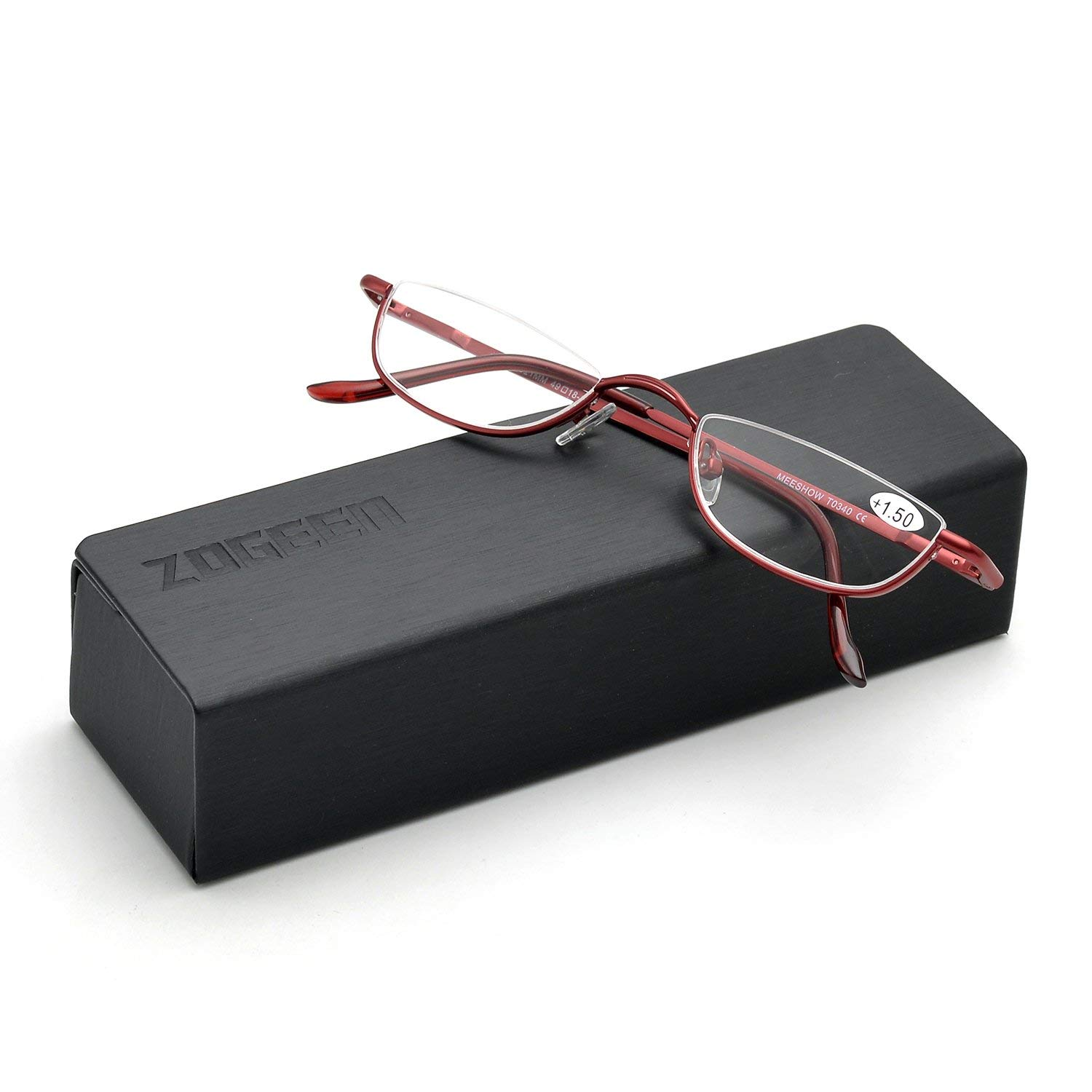 a6f23f0bd79b Get Quotations · ZUVGEES Vintage Alloy Semi Rimless Reading Glasses Men  Women Half Frame Slim Glasses with Stylish Case