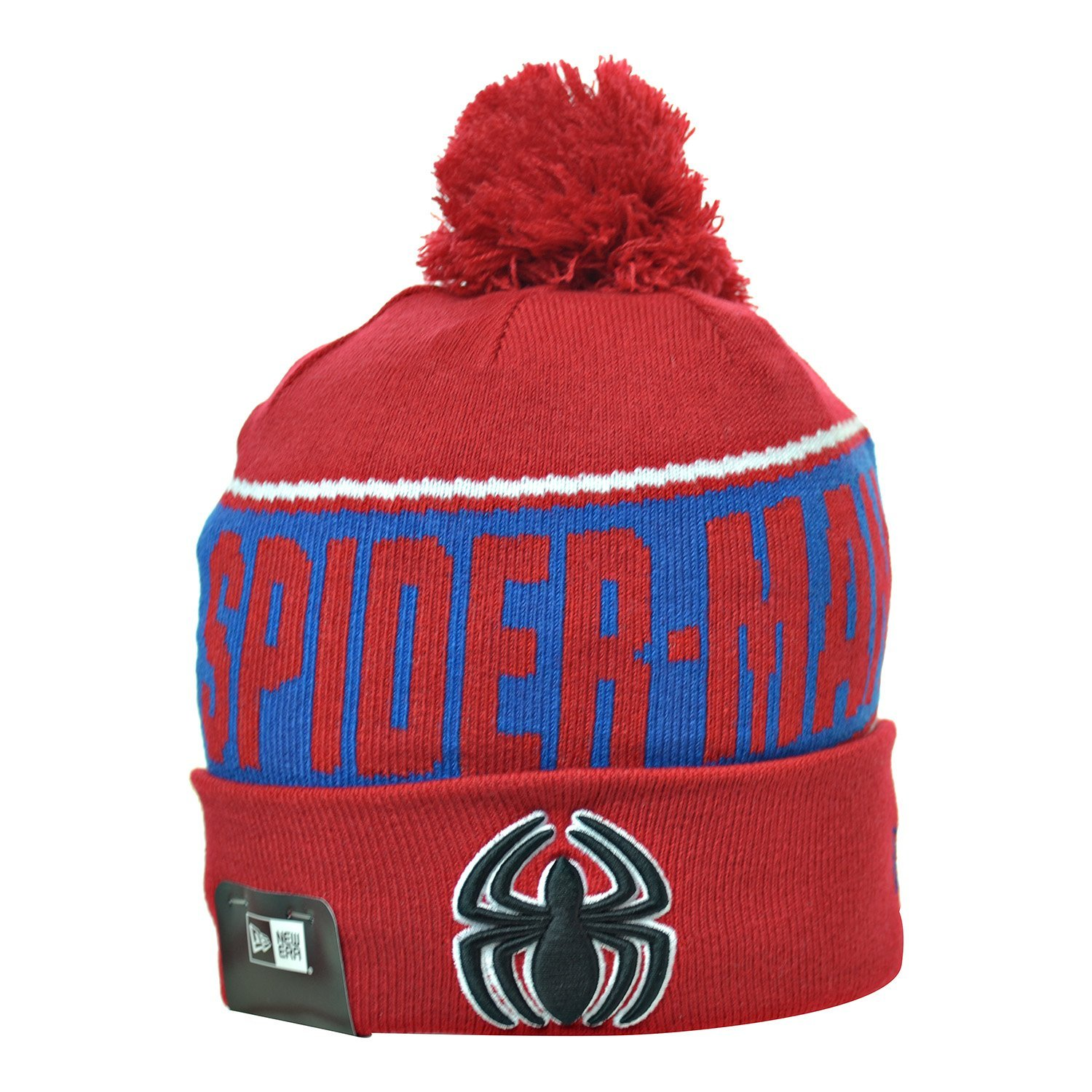 127d5fd89f259f Get Quotations · New Era Spider Man Team Chant Men's Winter Knit Pom Beanie  Red/Blue/Black