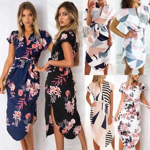 Casual Maxi Boho Dress Women Summer short sleeve floral print beach dress