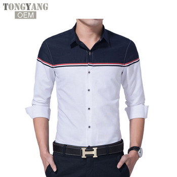 TONGYANG 2018 Nuovi Uomini Shirt Fashion Brand Design Dress Shirt Slim Fit Vetement Homme Lungo-Manicotto