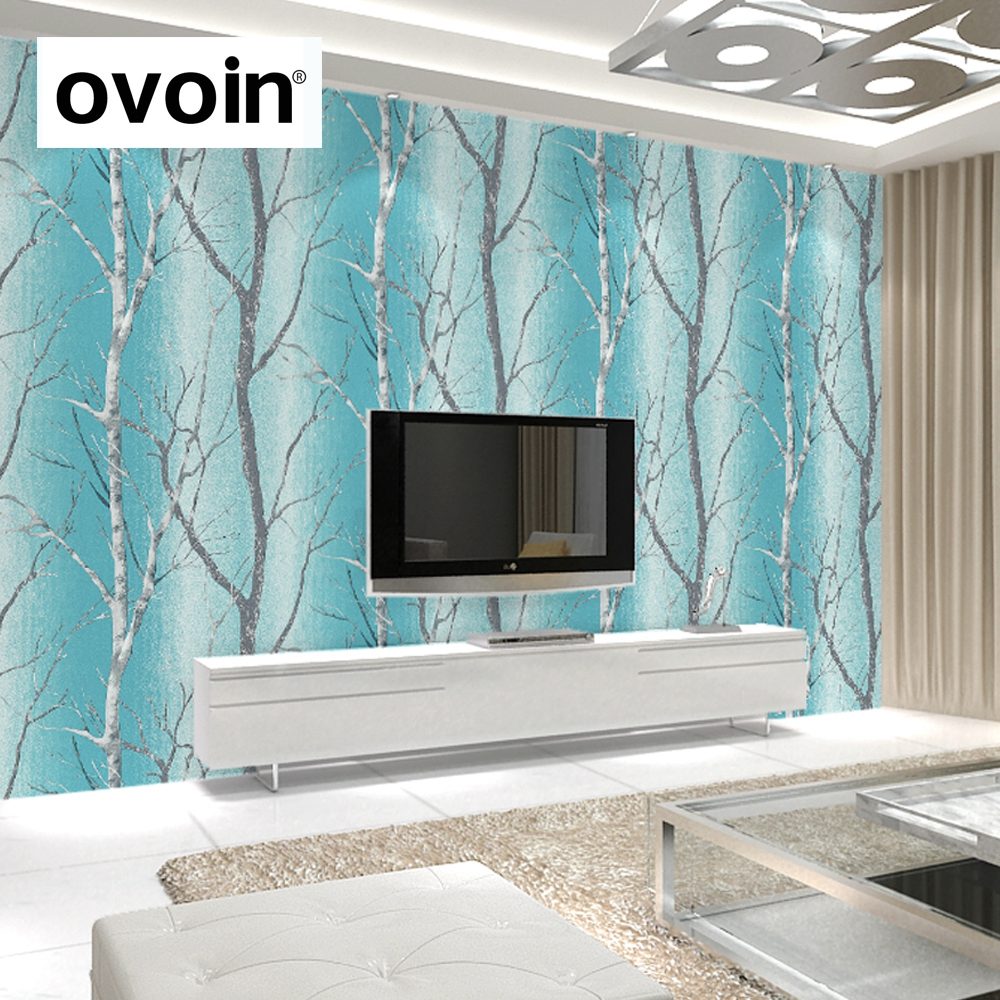 azul del trullo moderno en relieve del rbol de abedul bosque wallpaper colorido bosque murales de