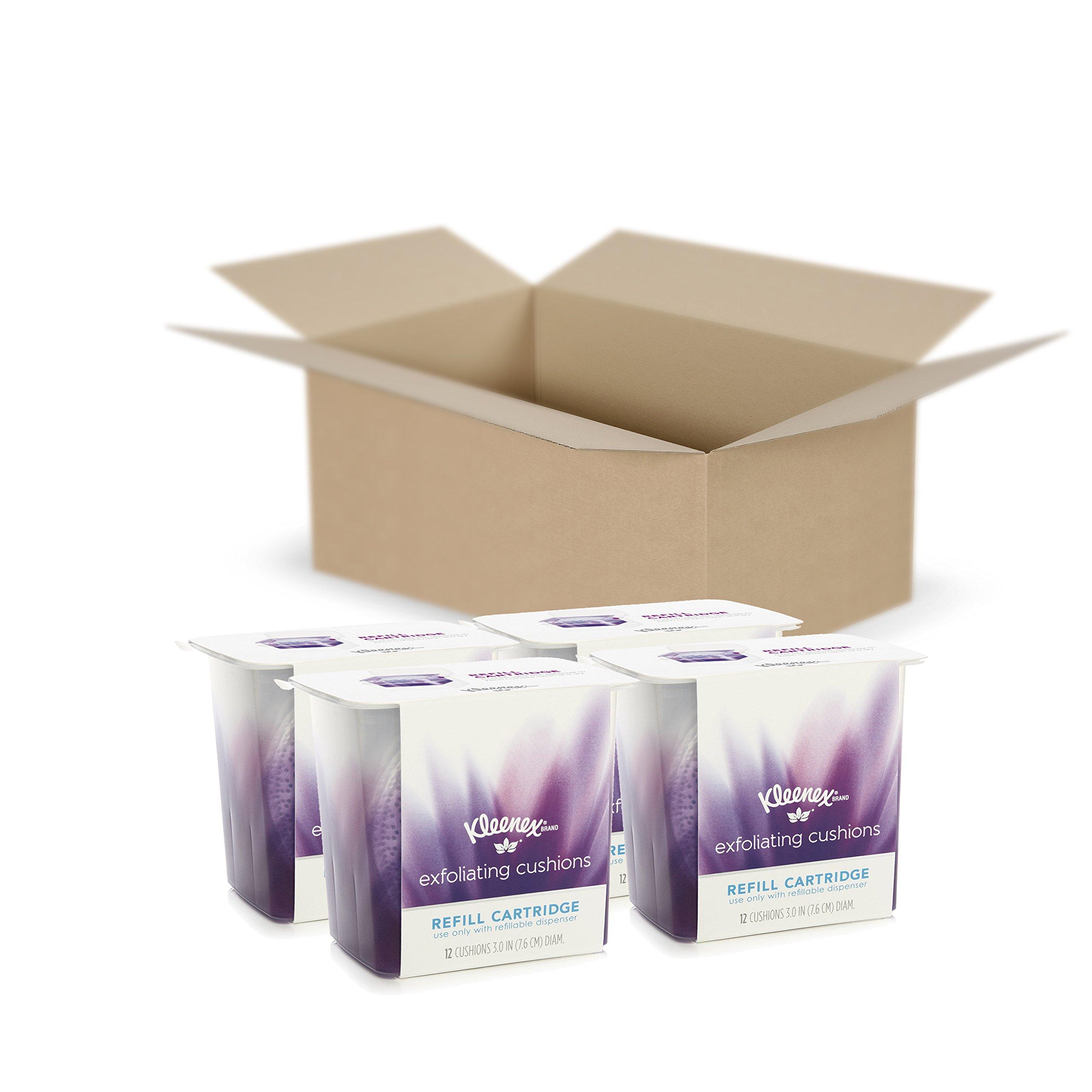 Kleenex Exfoliating Cushions, Refill Cartridge, 12 Count, Pack of 4
