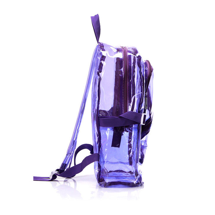 Lightweight new fashion pvc school book bag 2 zipper opening front pocket clear school bags transparent pvc backpack