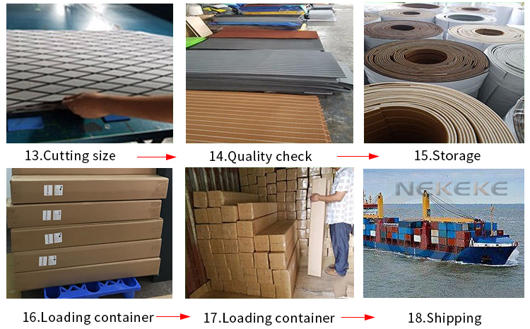 NEKEKE synthetic teak decking flooring deck sheet durable EVA foam decking pad