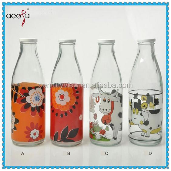 Milk Bottle 1 Liter Glass Bottle Coconut Milk With Partton