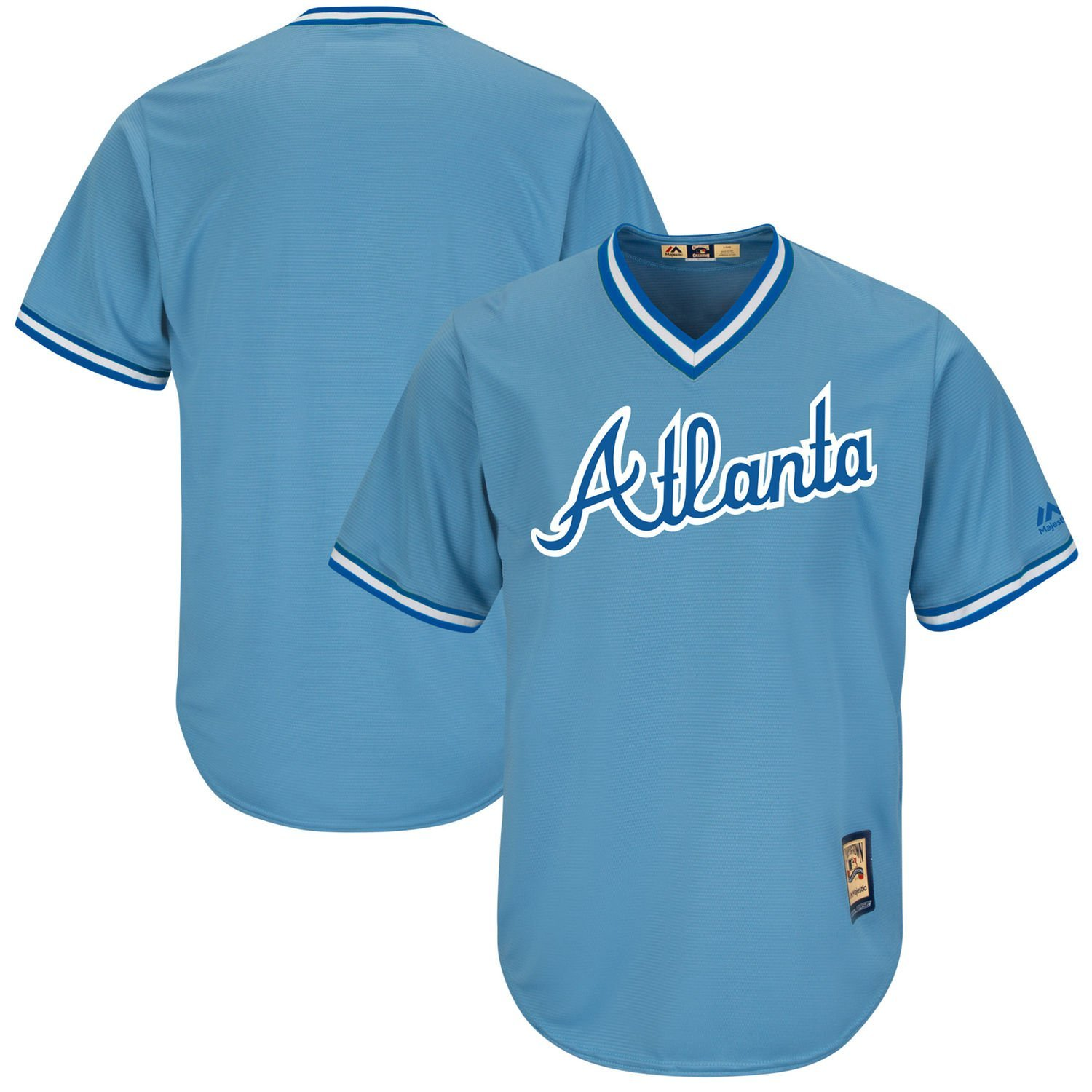 Get Quotations · Atlanta Braves Blank Light Blue Youth Cool Base  Cooperstown Replica Jersey 0195d0267
