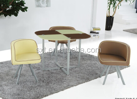 Modern design tempered Glass dining table with Chairs/(1+4)