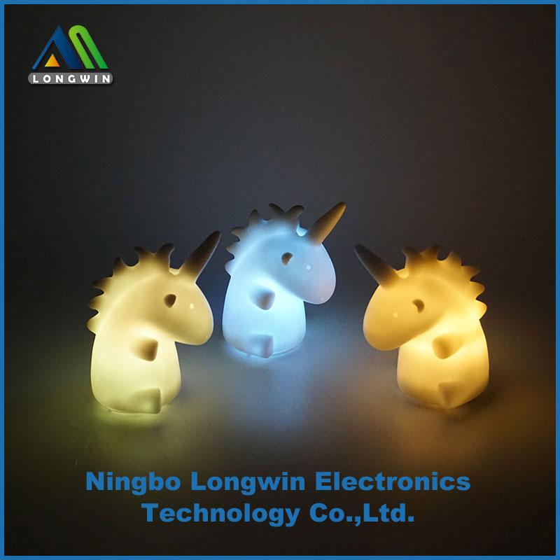 Operado por batería multi-color unicornio LED noche luz de la noche ...