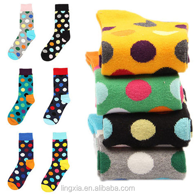 Wholesale Comfortable Dots Happy Socks Mens Dress Socks, Custom Fashion Cotton-Blend Dress Socks Unisex OEM