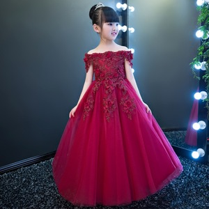 Western style flower girl dresses Off Shoulder pink wedding gown kid formal party dress for 12 years old
