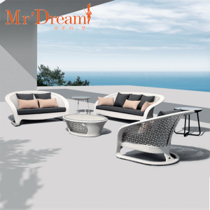 Foshan wholesale new design waterproof leisure handmade hotel garden outdoor rattan sofa set