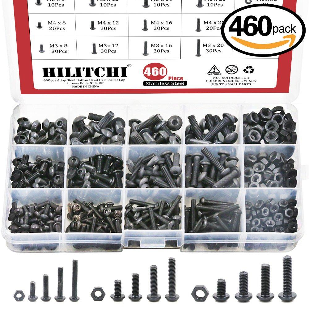 Hilitchi 460-Pcs M3 M4 M5 Button Head Hex Socket Head Cap Bolts Screws Nuts Assortment Kit - 10.9 Grade Alloy Steel