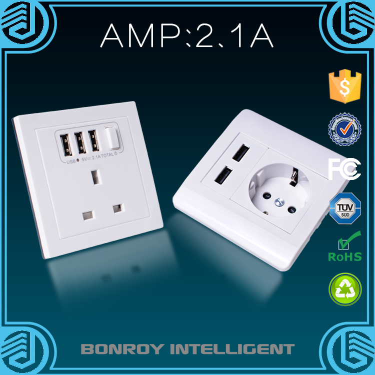 factory 5v 2.1a usb square pin electrical sockets for british