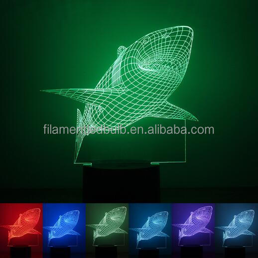 3d illusion fish table lamp USB power lampe led 3d FS-3180