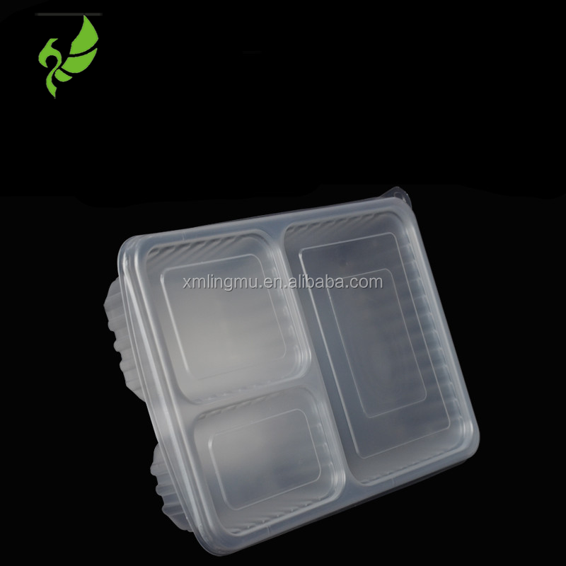 plastic food container,3 Compartments lunch food storage container,rectangle plastic bento