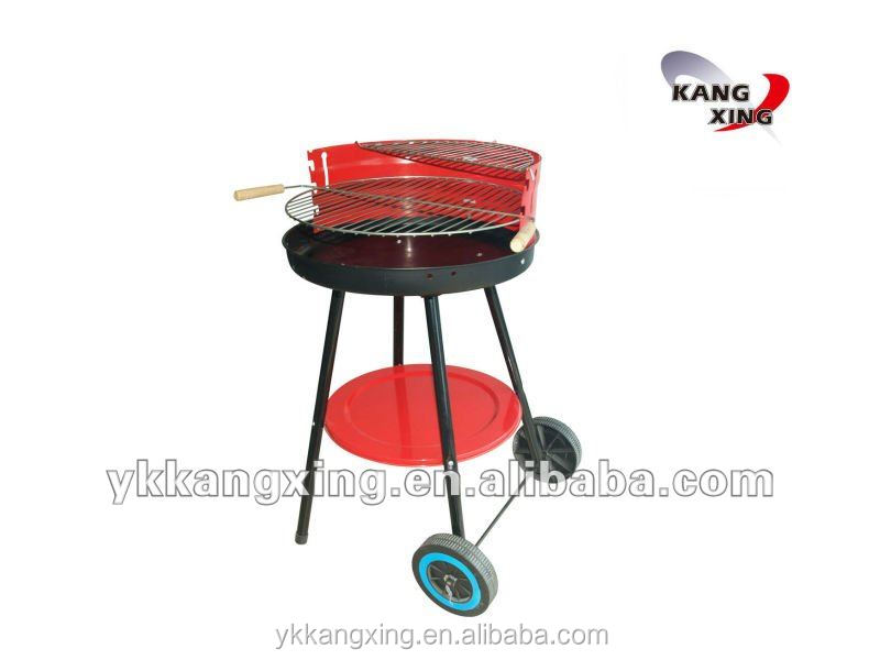 triangle vertical wind shield round trolley charcoal barbecue Grill with two wheels of (KX-8002)