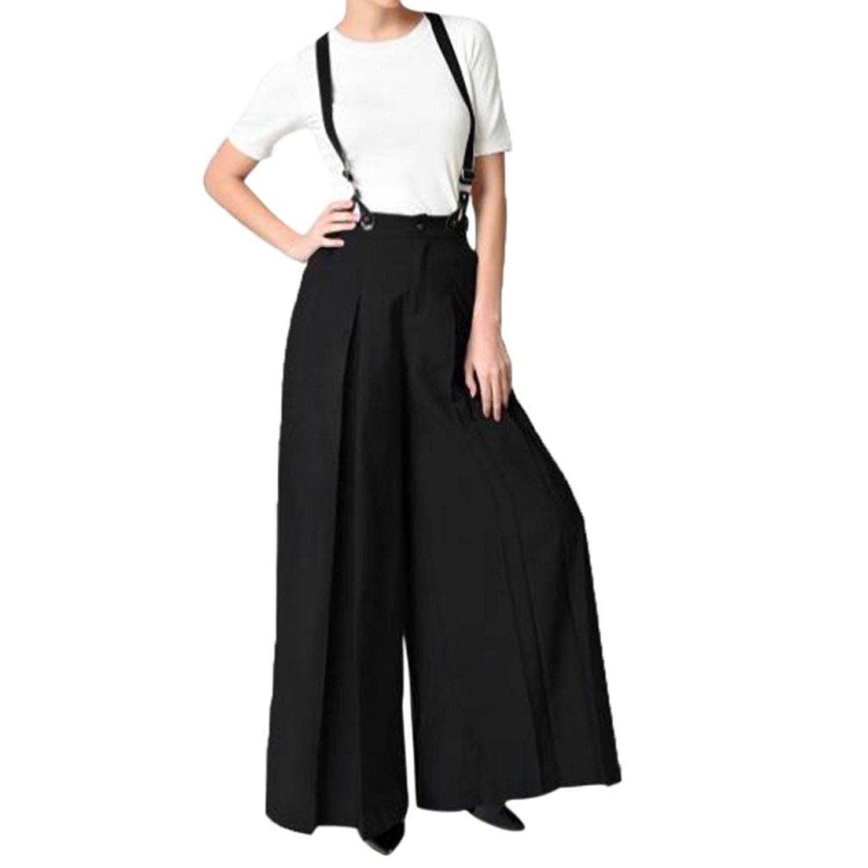 c4d3cebfff90 Get Quotations · VIASA Pants Women Vintage Strap Wide Leg Pants Chic Lounge Pants  Jumpsuit Overalls Palazzo Long Pants Trousers