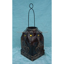 Best gift glass metal moroccan delight garden candle holder table/hanging lantern