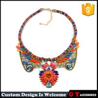 Wholesale Flower Crystal Pendant Choker Statement necklaces Handmade Bohemian Fabric Large Necklaces