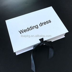 Alibaba custom luxury plain white folding wedding dress packing gift boxes