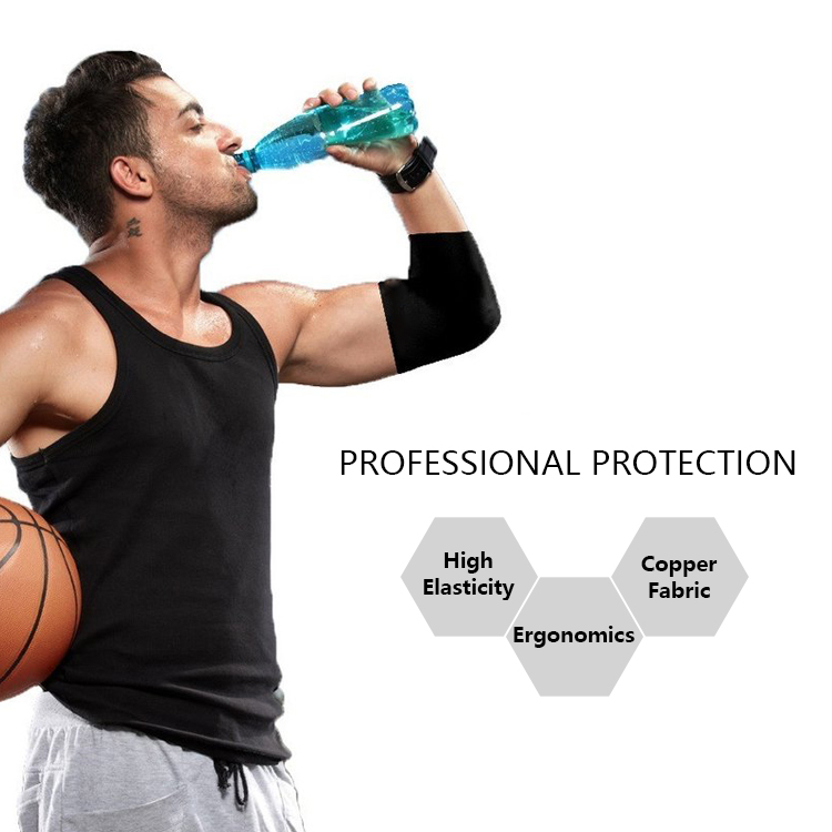 87465636c2 Antibacterial Moisture Wicking Sports Copper Compression cricket Elbow  support Sleeve brace