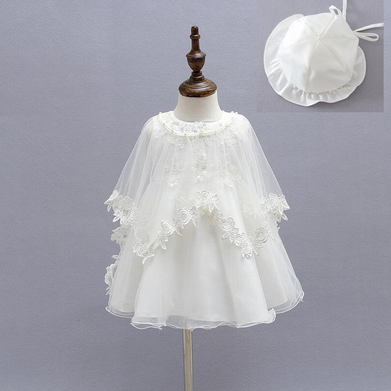 2016 Newborn Baby Christening Gown Infant Girl's White