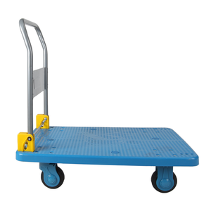 Folding handle stainless steel four wheel heavy duty 500kg platform trolley