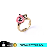 pink flower bridal wedding fashion gold rings for women