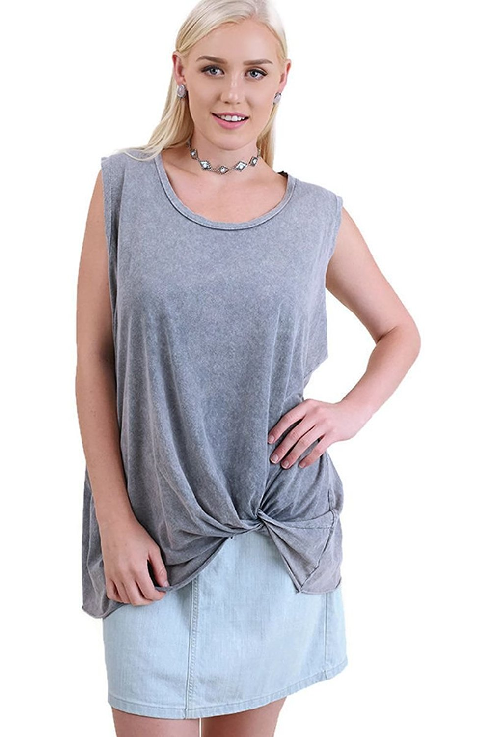 Umgee Women's Bohemian Mineral Washed Twisted Knot Top Plus Size