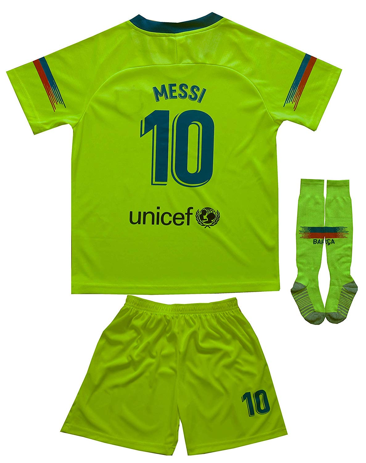 c623753a9dc Get Quotations · Da Games Youth Sportswear Barcelona Messi 10 Kids Away Soccer  Jersey Shorts Football Socks Set