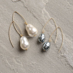 NE00006 Baroque pearl Drop cuff earrings