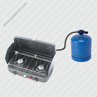 2015 Summer Outdoor BBQ Double Burner Gas Cooker Prices With Windshield
