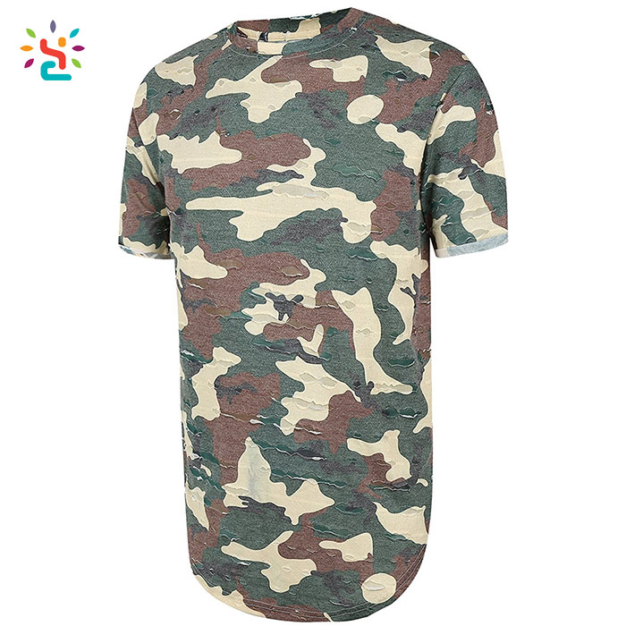 2bd66d69 Distressed camo t-shirt men curved hem tee custom mens tall tees short  sleeve t shirts on sale