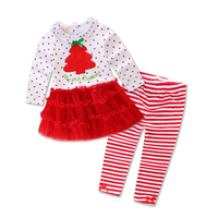 Discount Price Popular Long Sleeve Stripe Kids Suit Print Set Christmas Outfits Children's Clothing