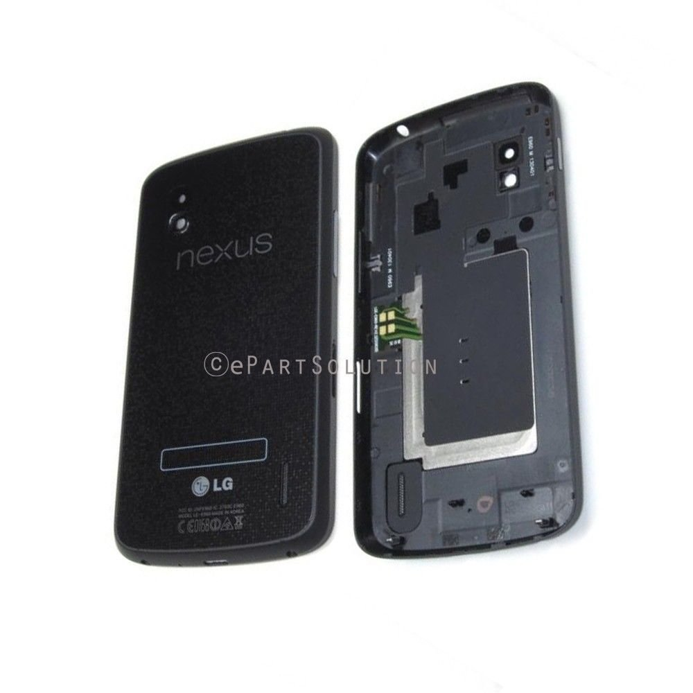 ePartSolution-OEM LG Google Nexus 4 E960 Original Battery Door Back Cover + NFC Antenna Black Replacement Part USA Seller