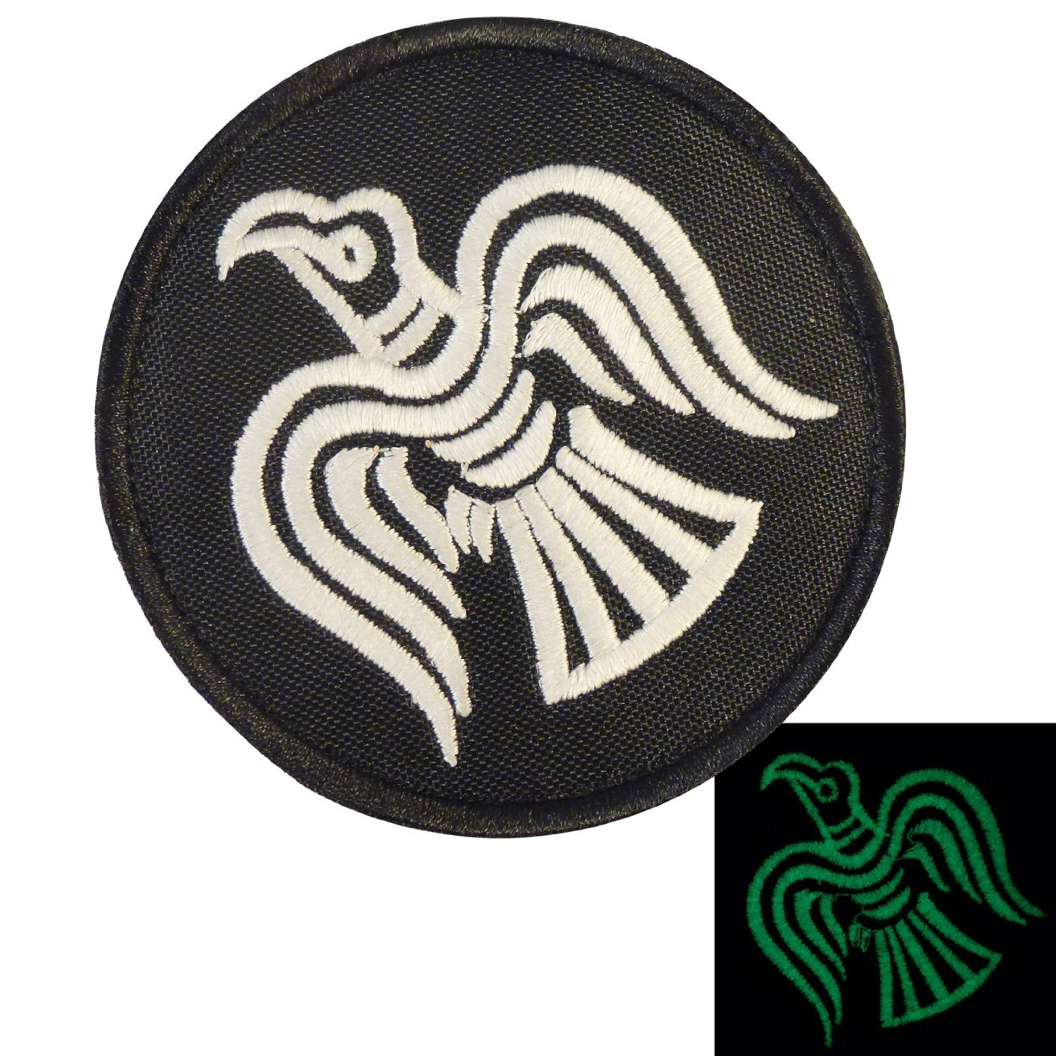 fff963e8fe356f Glow Dark Rare Viking Raven Odin God of War Morale Embroidered Sew Iron on  Patch