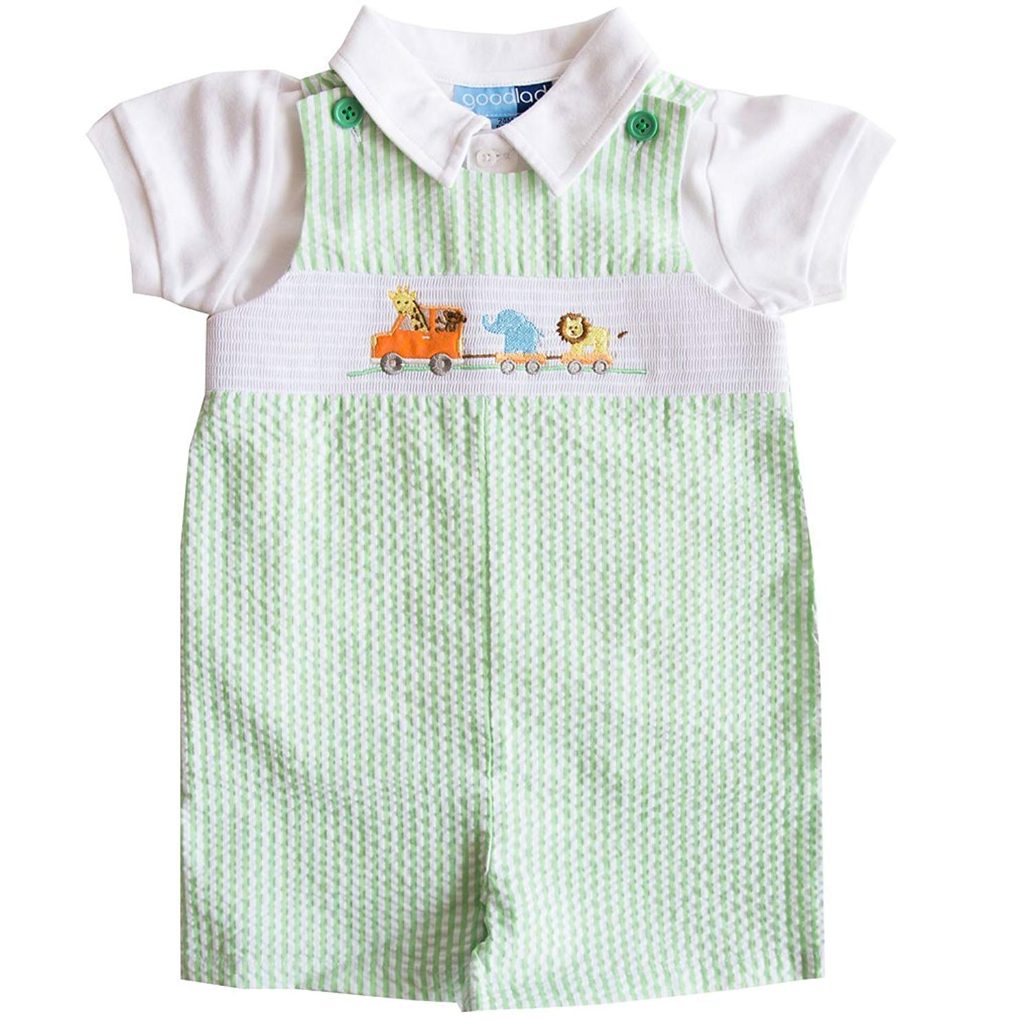 729948493a68 Get Quotations · Good Lad Newborn Infant Boys Green Seersucker Smocked  Shortall Set with Animal Appliques