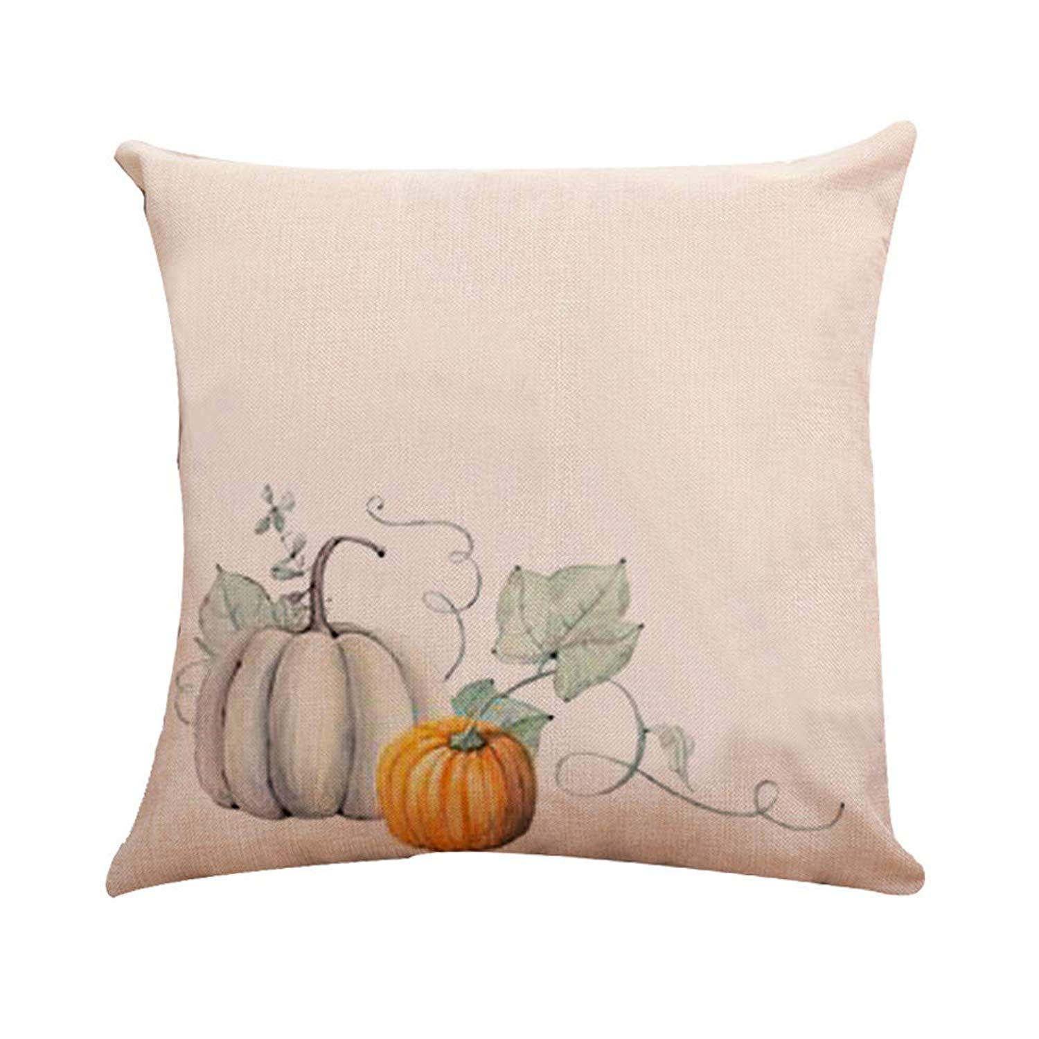 MaxFox Halloween Pumpkin Throw Pillow Cover Flax Pillow Case Cushion for Office Home Room Car Decor