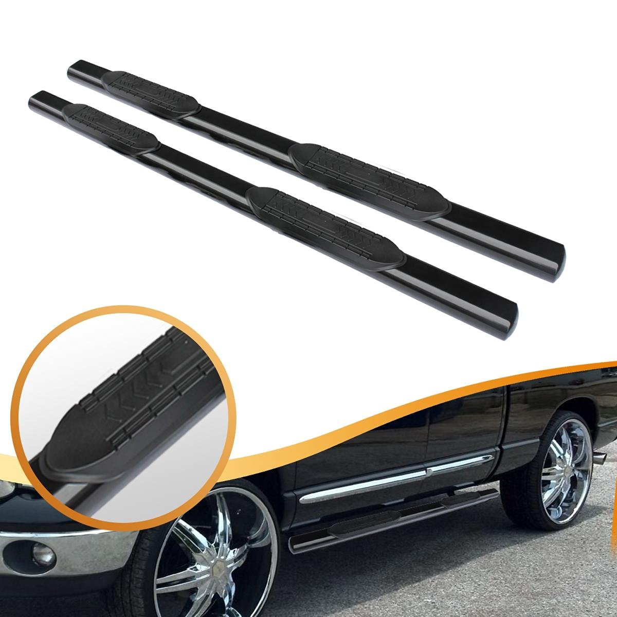 "5"" Oval Matte Black Side Step Nerf Bar Running Boards for 1999-2013 Chevy Silverado 1500 2500 3500 and 1999-2013 GMC Sierra 1500 2500 3500 Extended Cab"
