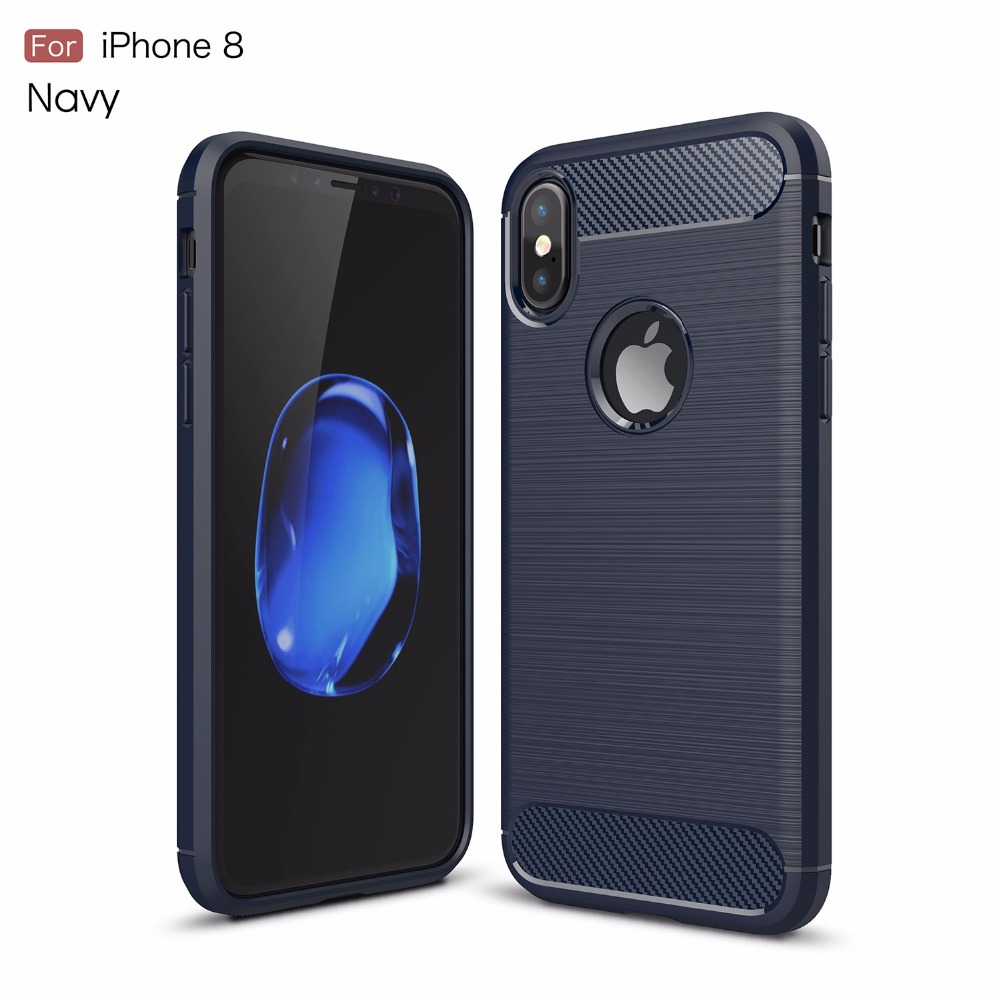 For iphone x TPU Cover Case Slim TPU Soft Case For apple iphone x Carbon Fiber Case JD-6594
