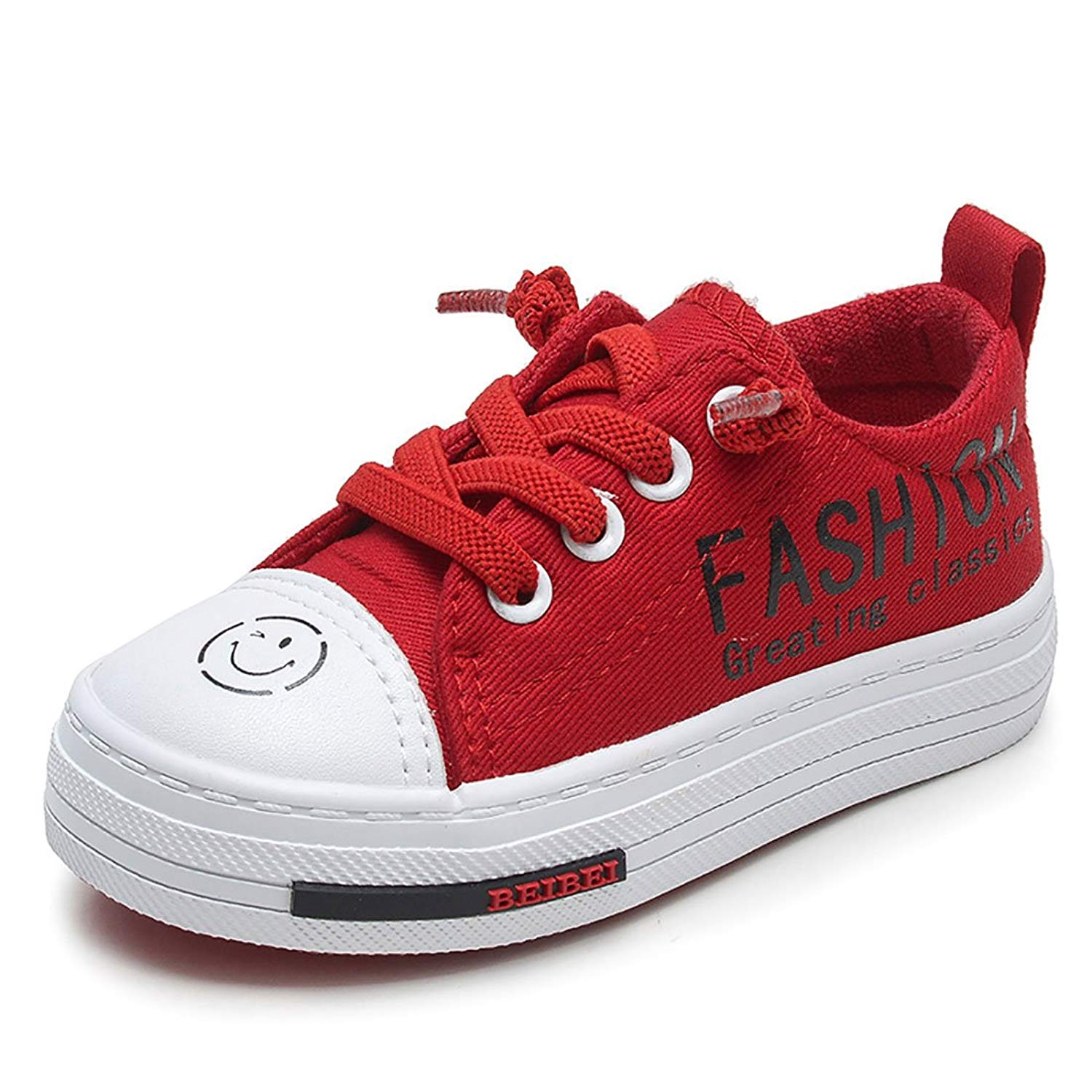 0978cd612bb Get Quotations · YIBLBOX Boys Girls Kids Lace Up Sneakers Toddlers Canvas Shoes  Plimsolls