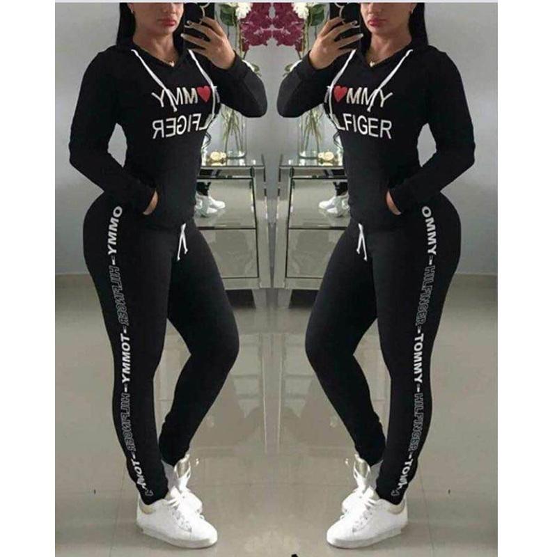 Chándal de las mujeres negro sudaderas con capucha pantalón sudadera pantalones conjunto