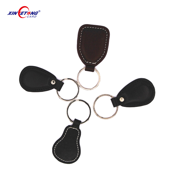 125KHZ Rewritable T5577 Leather RFID Keyfob/ RFID Key Tags For Hotel Access Control