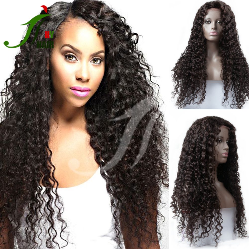 Unprocessed Natural Women Front Lace Long Curly Malaysia Virgin Human Hair Full Lace Wig With Baby Hair&Natural Hairline