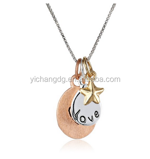 Tri-Colored Silver with Yellow and Rose Gold Flashed Love with Heart and Star Charm Necklace