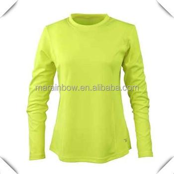 Oem Plain Women 39 S Long Sleeve Safety Yellow Spandex