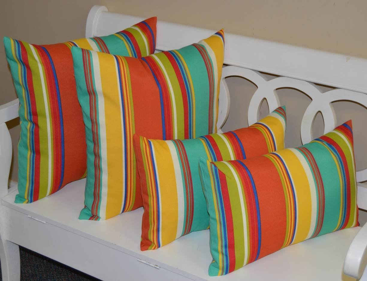"""Set of 4 Pillows ~ 2 20"""" Square & 2 Rectangle / Lumbar Coral, Yellow, Turquoise, Red, Blue, Green, White Bright / Colorful Stripe Indoor / Outdoor Pillows"""
