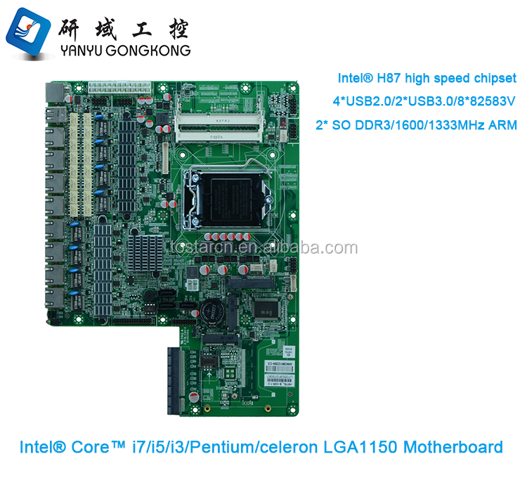 Hanzsung Motherboard 8 ethernet ports intel i3 i5/ i7 motherboard 8 ethernet ports for Server factory made in China